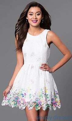 Shop affordable short white party dresses at Simply Dresses. Sleeveless casual dresses under $100 with pastel prints and scalloped hems.
