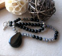 Black Agate, Obsidian Beads, Glass Rondelles, Gemstone Beaded Necklace, Agate Necklace, Beaded Necklace,, Goth Jewelry, Artisan Jewelry by FamtasticCrafts on Etsy