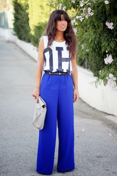 Wide blue pants and cute T