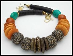 YORUBA - Old African Money Rings - Mali Clay Beads - Asst African Beads Necklace by sandrawebsterjewelry on Etsy