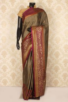 Dark #brown & golden #beige pure #banarasi silk loovely #saree with zari weaved #pallu -SR15425