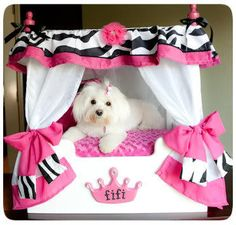 """Roxy"" Cheetah Canopy Dog Bed, WHITE CURTAINS/ CREAM FRAME from cutecanopybeds on eBay. Saved to Epic Wishlist. #lol #dog #pups #needs #coco #twinning #adorbz #zebra."