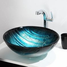 Kraus Nature Multicolor Glass Tempered Glass Vessel Round Bathroom Sink at Lowe's. Add an eye-catching artistic touch to your bathroom décor with the beautiful colors and patterns of a KRAUS Nature Series™ glass vessel sink. Glass Bathroom Sink, Glass Vessel Sinks, White Bathroom, Small Bathroom, Bathroom Ideas, Sink Faucets, Octopus Bathroom, Bath Ideas, Master Bathroom