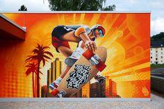 #3Steps #sports |   #streetart #muralart #graffiti #urbanart | #giessen #3stepscrew #skateboard #athlete #sun Mural Painting, Mural Art, Wall Art, Graffiti, Iron Man Avengers, Outdoor Art, Black Widow, Skateboard, Artworks