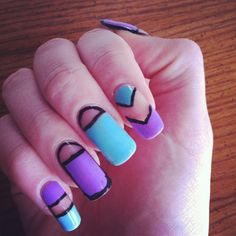 Geometric cut out nails in purple and teal
