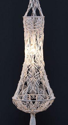 Macrame drop lampshade detail. http://smalltown.net.au/jewellery/monoschroma/