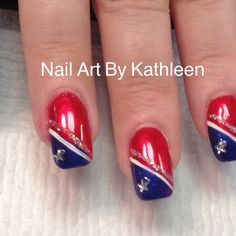 patriotic nails - We have put together the top nail art designs. Make sure that you check them out. Fingernail Designs, Red Nail Designs, Nail Polish Designs, Beautiful Nail Designs, July 4th Nails Designs, Great Nails, Simple Nails, Easy Nail Art, Cool Nail Art