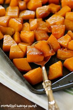 Caramelized Butternut Squash makes the tastiest side dish! It's one of the best ways to cook butternut squash and it's super easy to make! With a little sweet and a little spice, this butternut squash recipe will knock your socks off!