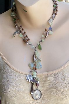 Knockin' on Heaven's Door Sterling French Rosary Necklace Green Garnet Baroque Pearls  linda michel, etsy