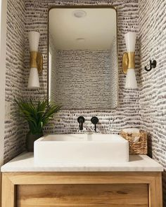We're crushing big time on this black and white wallpaper layered with the gold sconces and the wood vanity! Such amazing work by… Small Bathroom Wallpaper, Powder Room Wallpaper, Painting Bathroom Walls, Bathroom Floor Tiles, Hall Bathroom, Wall Tiles, Master Bathroom, Wallpaper Layers, Of Wallpaper