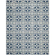 Safavieh Cambridge Collection CAM133G Handmade Navy and Ivory Wool Area Rug, 9 feet by 12 feet (9' x 12')