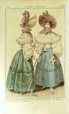 GRAVURE de MODE AUTHENTIQUE-I293-COSTUMES PARISIENS-ROBE NAPLES-n°2716-1829 …