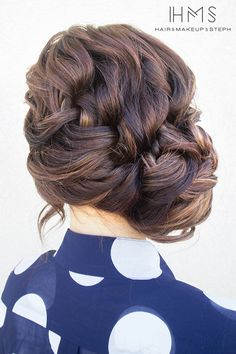 I Love really loose chunky braids for hair up, especially if my client has lots of long hair, it reduces the amount of product needed and pubs to secure, and looks Fab too!