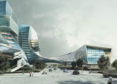 """The Beijing city district of Wanjing has traditionally been a gateway for people entering the city. Its name literally translates as """"Looking Towards Beijing."""" J. J. Pan and Partners seek to renew that title with the design of Beijing Automotive Group's new Research and Development Center. Taking inspiration from the character 北 (bei), which signifies openness, as well as Beijing itself, this mixed use building is meant to become a symbolic landmark both for Wanjing and for the company it…"""