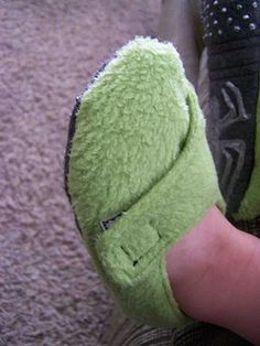 Toddler slippers tutorial... LOVE the velcro on these. I think both boys could use some!