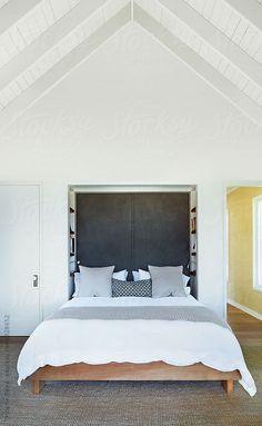 Simple bedroom in modern farmhouse in Sonoma, California