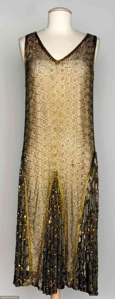 """Beaded Dance Dress, 1920s, Augusta Auctions -- Beige net w/ allover geometric pattern in gold beads, gold sequin trim, B 34"""", H 38"""", L 45"""""""