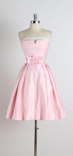 Tickled Pink . vintage 1950s dress . vintage by millstreetvintage
