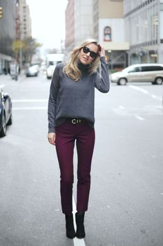 Gray sweater, burgundy pants, ankle boots, but no belt Ankle Pants Outfit, Burgundy Pants Outfit, Ankle Boots With Jeans, How To Wear Ankle Boots, Boots For Work, Ankle Boot Outfits, Ankle Boots Outfit Winter, Dress Pants, Harem Pants