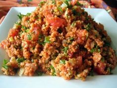 easy to make that appetizer that I often cook it - bulgar+onion+tomato+olive oil+cumin+lemon juice+chopped Mediterranean parsley
