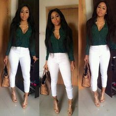 Simple and elegant.she knew how to pull it off Dope Outfits, Classy Outfits, Stylish Outfits, White Jeans Outfit, Kimono, Swagg, Spring Outfits, Casual Wear, Autumn Fashion