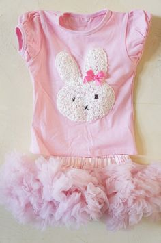 Girls Easter Dress - First Easter - Baby first Easter Outfit - Bunny Outfit - Pettskirt -