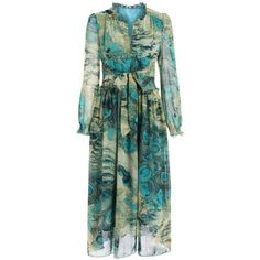 Chic Long Sleeve Peacock Feather Print Waist Tied Chiffon Dress For Women