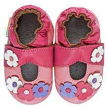 Momo Baby Girl Soft Sole Leather Shoes - Flower Mary Janes