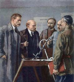 Серов Владимир Александрович (1910-1968) «В.И.Ленин и М.А.Горький знакомятся с изобретением А.Игнатьева» 1960