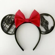 The Dark Side printed Mouse Ears with Custom Bow PICTURED: Black Ears with Bright Red Bow Features a thick cloth covered headband, Death Star and Tie Fig Disney Ears Headband, Diy Disney Ears, Disney Headbands, Ear Headbands, Disney Diy, Disney Crafts, Disney Land, Disney Bows, Disney Ideas