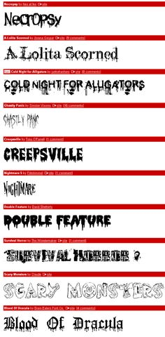 Dafont Scary Halloween Fonts