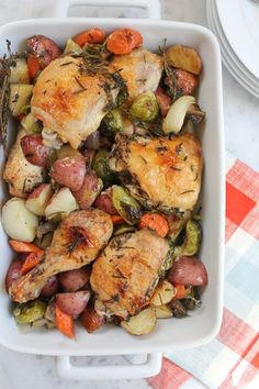"One Pan Roast Chicken - Infused with garlic, fresh thyme and rosemary, your family will love this ""make ahead"" one-pan roast chicken."