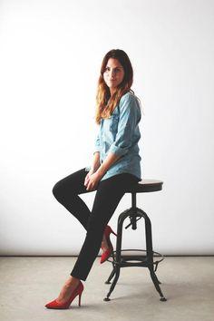 chambray / black denim / red heels