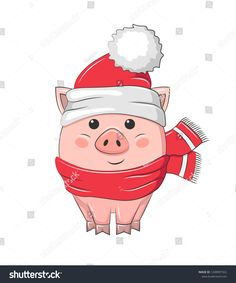 Cute cartoon piggy in Santa hat and red scarf. Isolated on white background. Christmas Rock, Felt Christmas Ornaments, Merry Christmas And Happy New Year, Christmas Signs, Christmas Pictures, Christmas Crafts, Pig Cookies, Pig Crafts, Funny Pigs