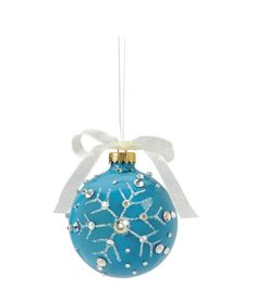 Snowflake Glass Ornament with Rhinestones