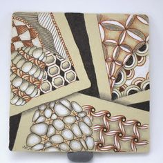 Shading with brown pens on Zentangle Renaissance tiles, blog post by Sue Jacobs, Certified Zentangle Teacher