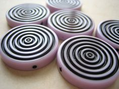 4 Vintage purple  lucite lavender purple swirl by a2zDesigns (Craft Supplies & Tools, Jewelry & Beading Supplies, Beads, german, vintage, acrylic, lucite, lilac, black, purple, round, lavender, circle, deco, spiral, sale)