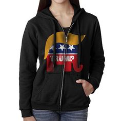 Women Donald Trump Hair Republican Elephant 2016 President Zipper Hoodie Sweatshirt -- Read more reviews of the product by visiting the link on the image.