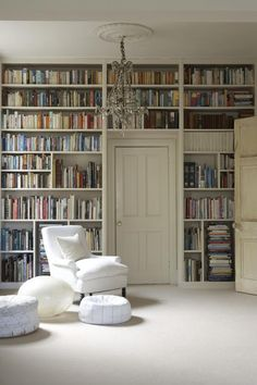 Bookshelves built around Door