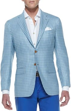 Aquamarine Plaid Blazer by Kiton. Buy for $6,495 from Neiman Marcus