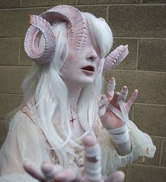 Last few of the Albino Demoness for now! Im so happy people like her and I Last few of the Albino Demoness for now! Im so happy people like her and Im definitely cooking something interesting up for my next Cosplay Makeup, Costume Makeup, Faun Makeup, Demon Costume, Demon Makeup, Horror Costume, Sfx Makeup, Makeup Art, Beauty Makeup