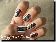 Black&white manicure with hexagonal glequins by Raggio_Di_Luna_Nails