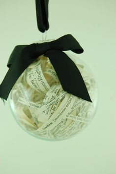 vintage paper filled glass ball ornament
