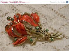 Vintage Tiger Lily Flower Brooch Pin by ViksVintageJewelry on Etsy