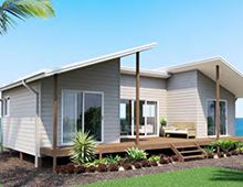 Kit Homes Melrose - this modern looking design with its unusual skillion roof is neat and compact. Kit homes Melrose is perfectly suited for a holiday home or a retired couple. The snug deck leading off the living area is ideal for alfresco dining.