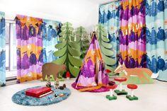 "Meri Mort, Helsinki, Finland based illustrator for Vallila Interiors ""Mimmit"" fabric collection Curtains, Helsinki, Finland, Fabric, Stuff To Buy, Interiors, Illustrations, Studio, Design"