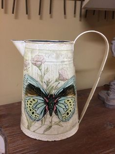 Shabby Chic Metal Vintage Butterfly Jug Kitchen Storage Rustic Tin Vase Pitcher | eBay