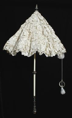 Parasol: ca. 1865, outer cover cut from high quality 17th century raised Venetian needle lace.