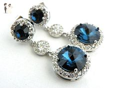 Blue Bridal or Bridesmaid Wedding Earrings with Swarovski Crystal Jewelry Long Wedding Earings - Choose from Round or Oval Top - Bridesmaid gifts (*Amazon Partner-Link)