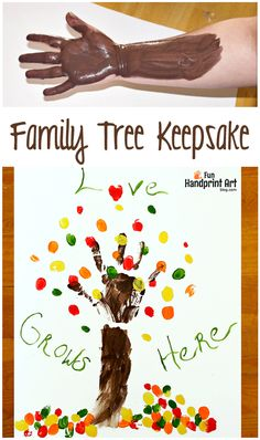 Love Grows Here - Family Fingerprint Tree Keepsake